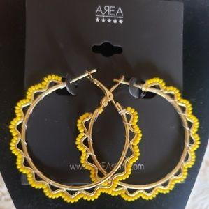 NWOT AREA Trend yellow hoop earrings